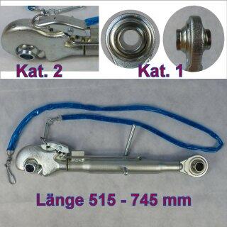 Oberlenker mit Fangh. Kat. 1 auf 2 , Länge 515-745 mm , M30x3
