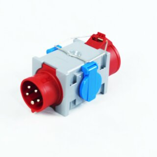 Adapter  Stromverteiler CEE 16A 400 V auf 1 x CEE 16 A + 2 x 250 V