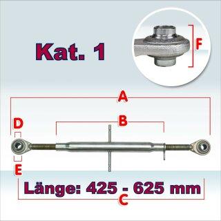 Oberlenker Kat. 1 , Länge 425-625 mm , M27x3, (Hülsenlänge 320 mm)