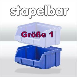 Größe 1  blau Sichtlagerkasten 10x9,5x5cm
