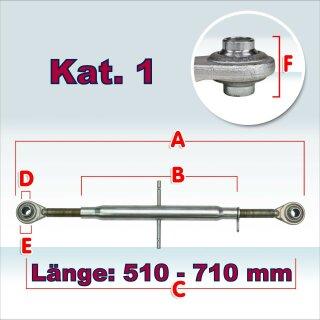 Oberlenker Kat. 1 , Länge 510-710 mm , M30x3, (Hülsenlänge 400 mm)