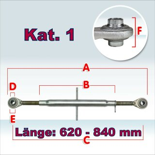Oberlenker Kat. 1 , Länge 620-840 mm , M30x3, (Hülsenlänge 500 mm)